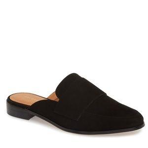 Halogen Violet black leather loafer mule